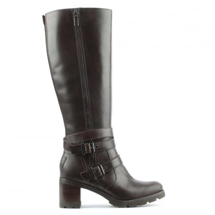 Lana Stout Leather Zip & Strap Knee Boot