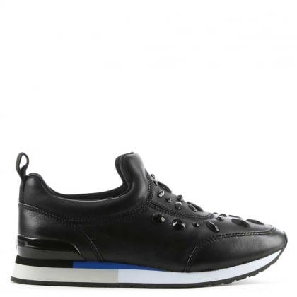 Laney Black Leather Embellished Slip On Trainer
