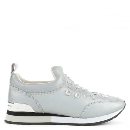 Laney Silver Leather Embellished Slip On Trainer