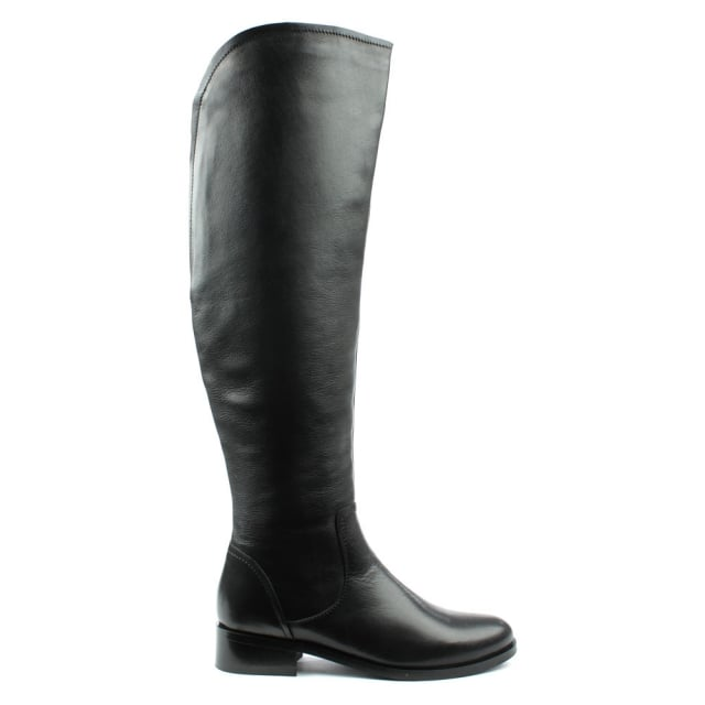 Langdale Black Leather Flat Over Knee Boot