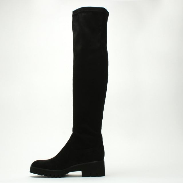 13249a0d15b Daniel Laquila Black Stretch Chunky Sole Over The Knee Boots