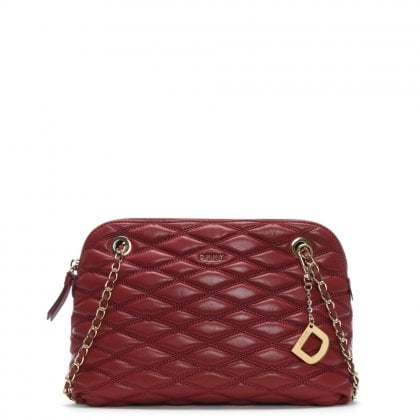 Lara Medium Quilted Scarlet Leather Cross-Body Bag