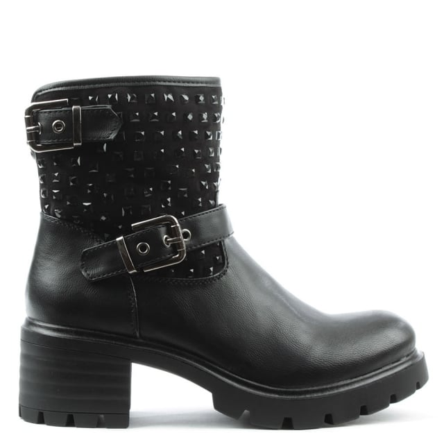 Larch Black Chunky Embellished Biker Boot