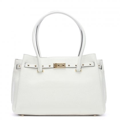 Large Addison Pebbled Optic White Leather Tote Bag