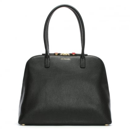 Large Black Grainy Leather Bobbi Shoulder Bag