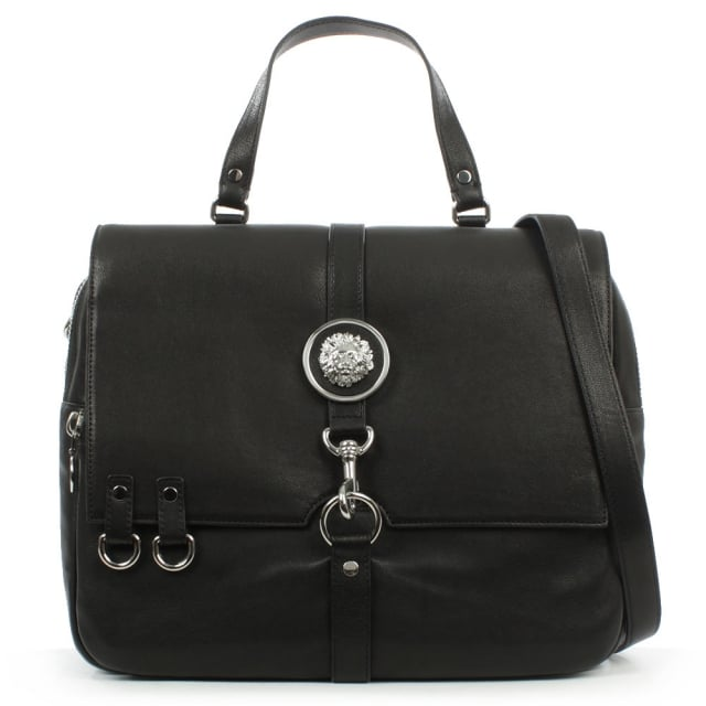 Large Black Leather Satchel Bag