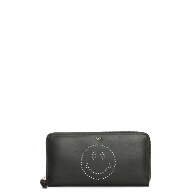 Large Black Leather Zip Around Smiley Wallet