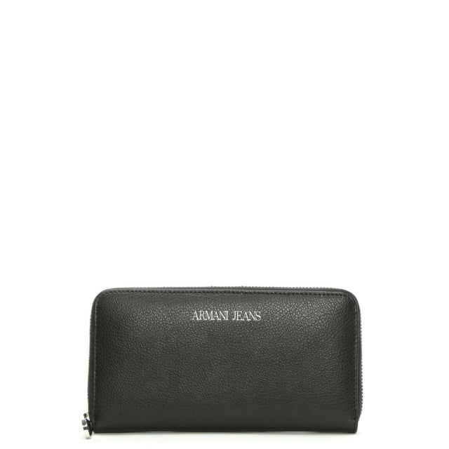 Large Black Leather Zip Around Wallet