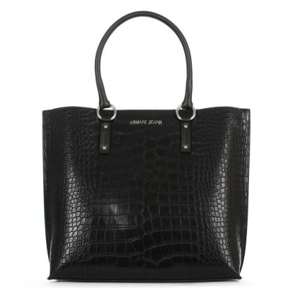 Large Black Moc Croc Shopper