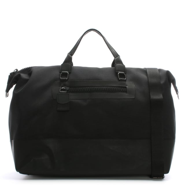 Large Black Nylon Weekend Holdall