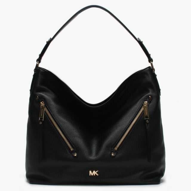 68c43fc114a8c9 Michael Kors Large Evie Black Leather Hobo Bag