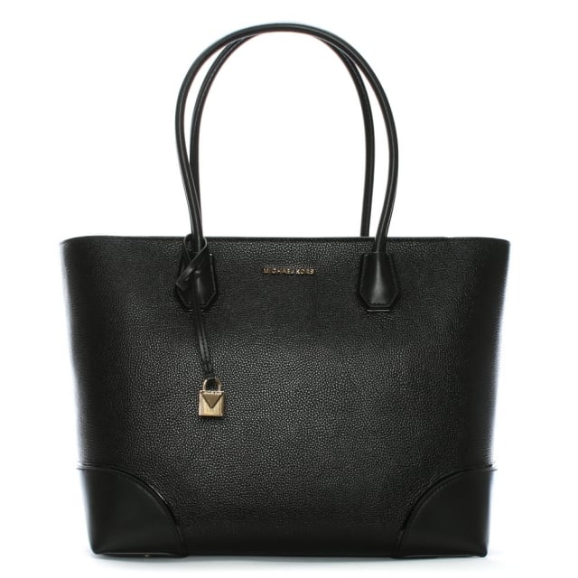 Large Gallery Black Leather Tote Bag