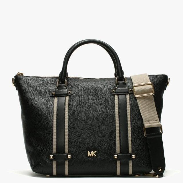 Large Griffin Black Leather Satchel Bag