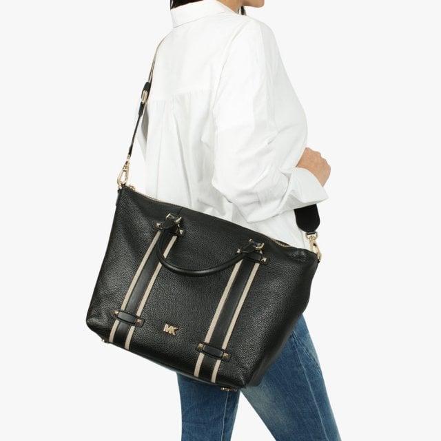 93b1ba75bb00 Michael Kors Large Griffin Black Leather Satchel Bag