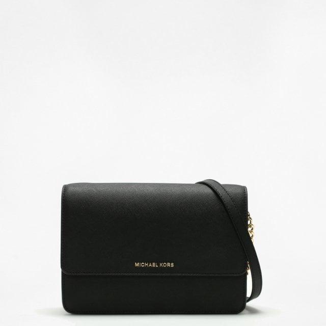 b7de381bf53aa Michael Kors Large Gusset Black Leather Cross-Body Bag