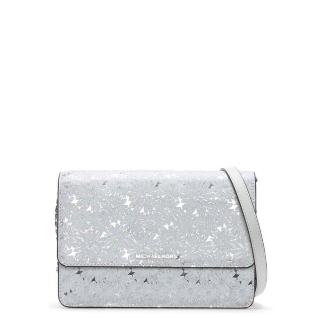 5dbe5335a09c Michael Kors Large Gusset White & Silver Metallic Flowers Cross-Body Bag