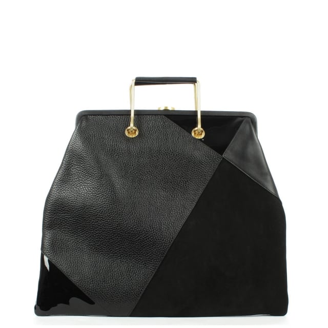 Large Haircalf Black Leather Tote