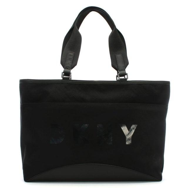 Large Jadyn Black Nylon Tote Bag