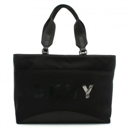 Large Jadyn Black Nylon Tote Bag
