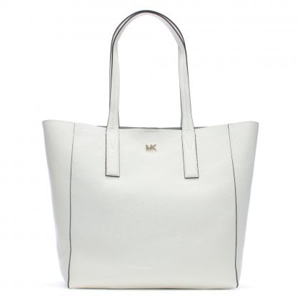 Large Junie Optic White Pebbled Leather Tote Bag