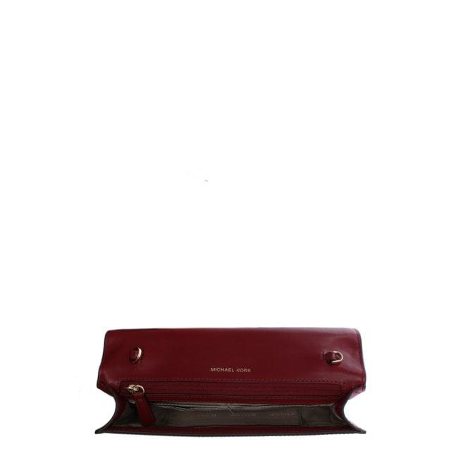 617e472b68fa Michael Kors Large Mott Burgundy Leather Clutch Bag