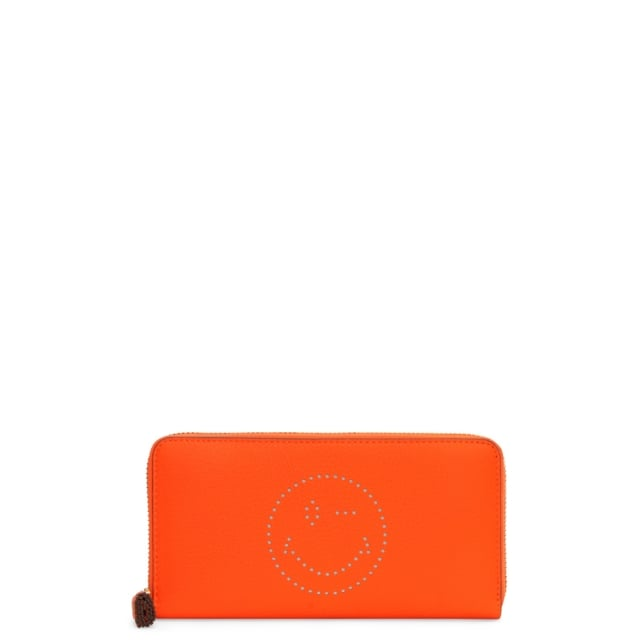 Large Neon Orange Leather Smiley Zip Around Wallet
