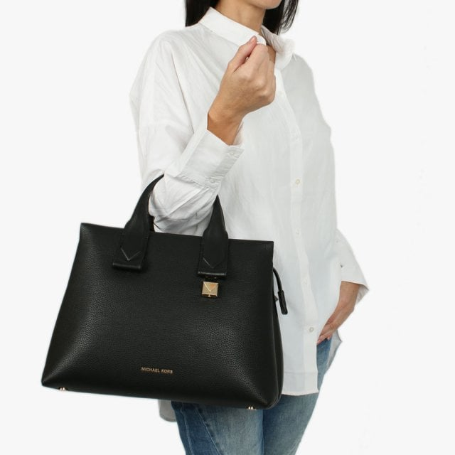 d9add4402277 Michael Kors Large Rollins Black Pebbled Leather Satchel Bag