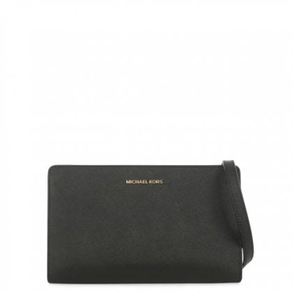 Large Saffiano Black Leather Cross-Body Clutch Bag