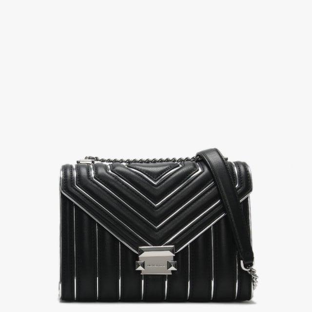 bc9697fc023e Michael Kors Large Whitney Black   Silver Quilted Shoulder Bag