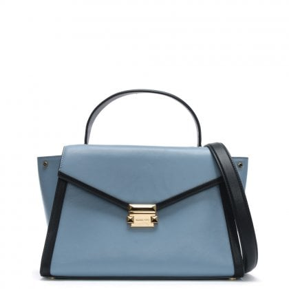 Large Whitney Pale Blue & Admiral Leather Satchel Bag