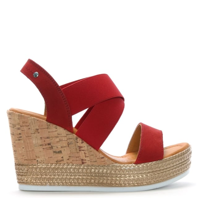 Lasty Red Suede Cork Wedge Sandals