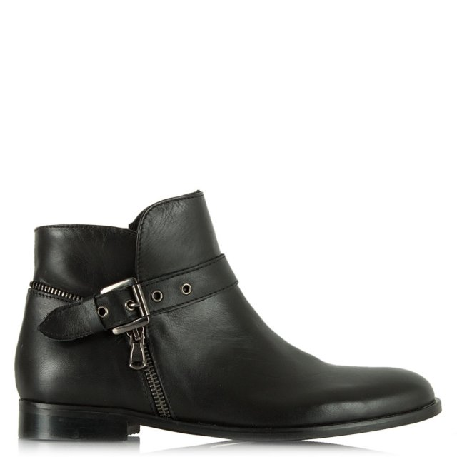 Laugh Black Leather Biker Ankle Boot