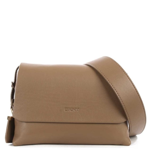 Laura Khaki Leather Mini Front Flap Wide Strap Cross-Body Bag
