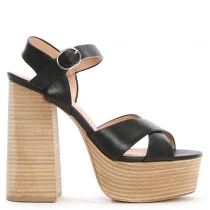 Lauren Black Leather Two Part Platform Sandals