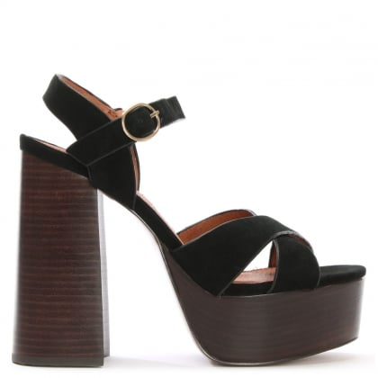 Lauren Black Suede Two Part Platform Sandals