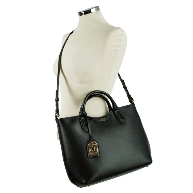 fecba113de Lauren Ralph Lauren Black Leather Convertible Tote Bag