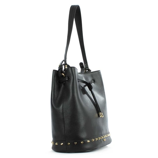 da11d5356717 Lauren by Ralph Lauren Dixon Studded Black Leather Drawstring Bucket Bag