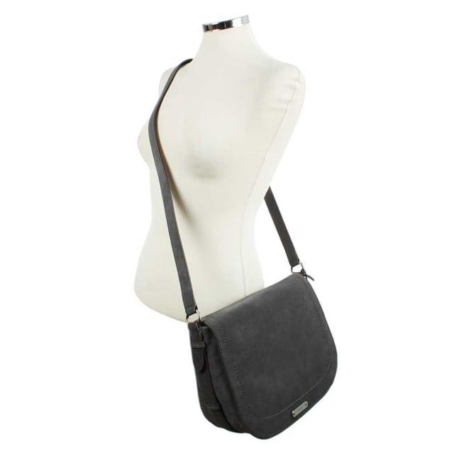 Glenmore Larisa Dark Shadow Suede Saddle Bag