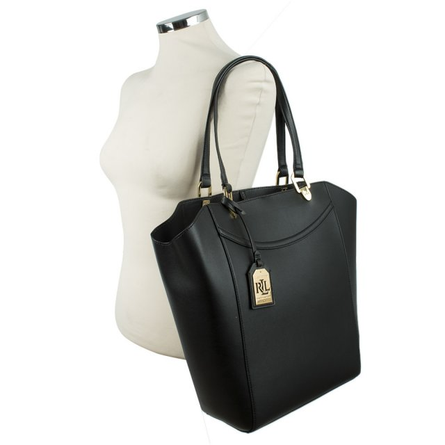 Lauren By Ralph Lexington Tote Black Leather Bag