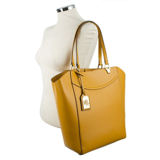ced5eabbbc Lauren By Ralph Lauren Lexington Tote Yellow Leather Bag