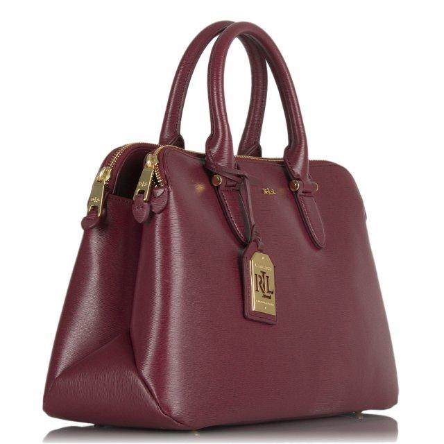 syksyn kengät korkealaatuinen halvin hinta Newbury Double Zip Dark Pink Leather Dome Tote Bag