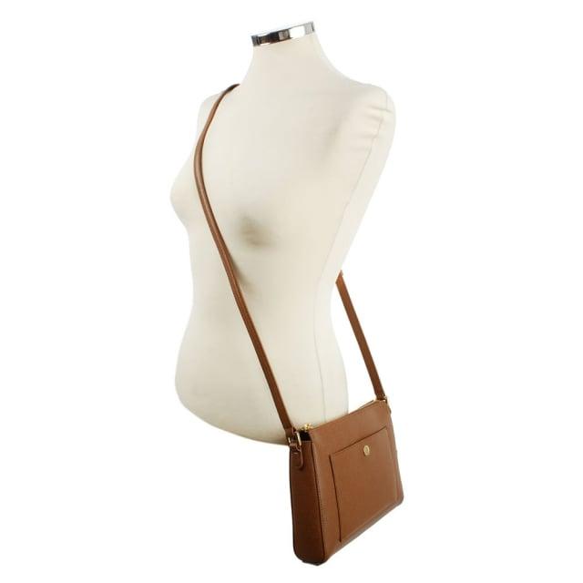 515cee519086 Lauren by Ralph Lauren Newbury Pocket Tan Leather Cross-Body Bag