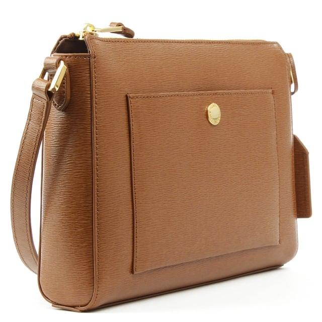 52c3fd2849 Lauren by Ralph Lauren Newbury Pocket Tan Leather Cross-Body Bag