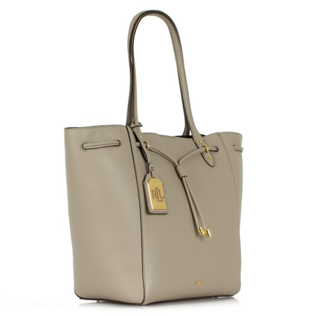 3914a96da097 Lauren By Ralph Lauren Oxford Tote Taupe Leather Tote Bag