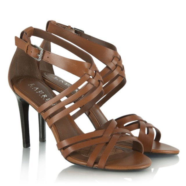 45503da1cab043 Lauren By Ralph Lauren Tan Leather Saba Strappy Heeled Sandal
