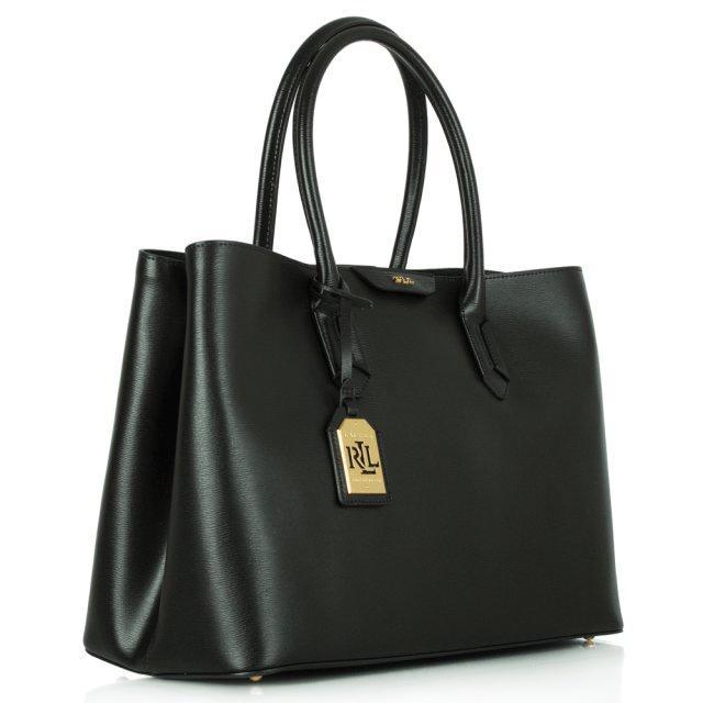 4ead5c1e759f Lauren Ralph Lauren Tate City Black Leather Tote Bag