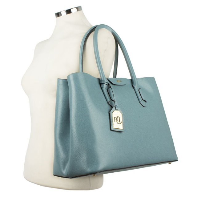 5bc20cf68e4b Lauren By Ralph Lauren Tate City Tote Blue Leather Bag