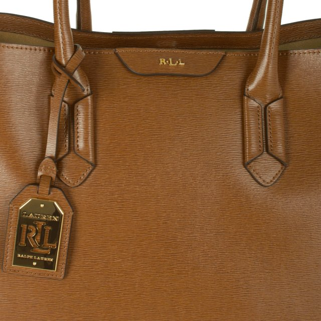 33cca72a9d Lauren Ralph Lauren Tate City Tote Tan Leather Bag