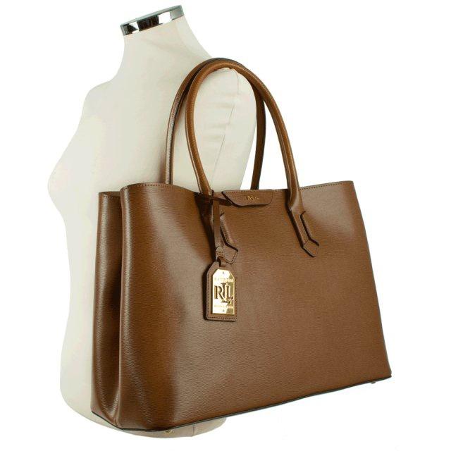 85e533db315 Lauren Ralph Lauren Tate City Tote Tan Leather Bag