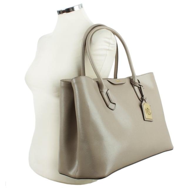 c6bcf370f5a Lauren Ralph Lauren Taupe City Tote Grey Leather Bag